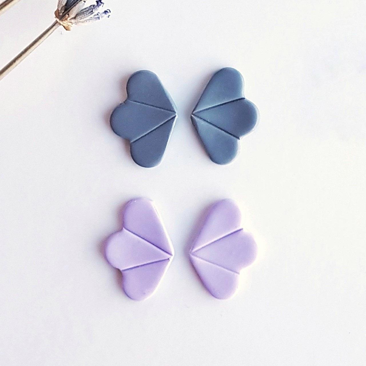 Pendiente abanico gris y lila