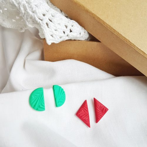 Pendientes geometric fucsia y menta