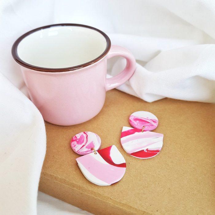 Pendientes acuarela rosa