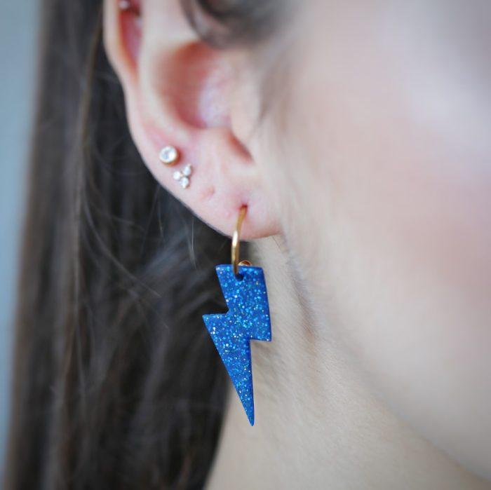 Pendientes rayito azul detalle