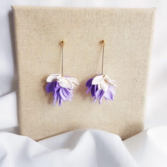 Pendientes Flor de loto morado